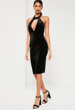 Black Velvet Keyhole Midi Dress