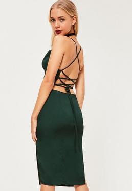 Green Silky Cowl Neck Midi Dress