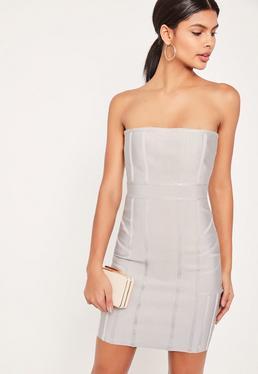 Szara dopasowana bandażowa sukienka bez ramiączek