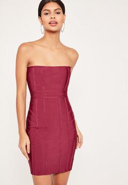 Burgundy Premium Bandeau Bodycon Dress