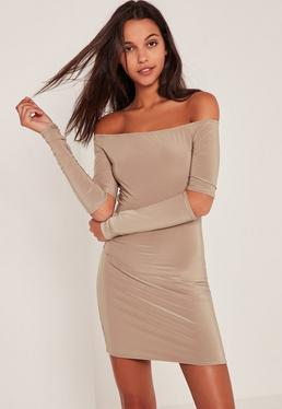 Nude Slinky Bardot Cut Out Elbow Dress