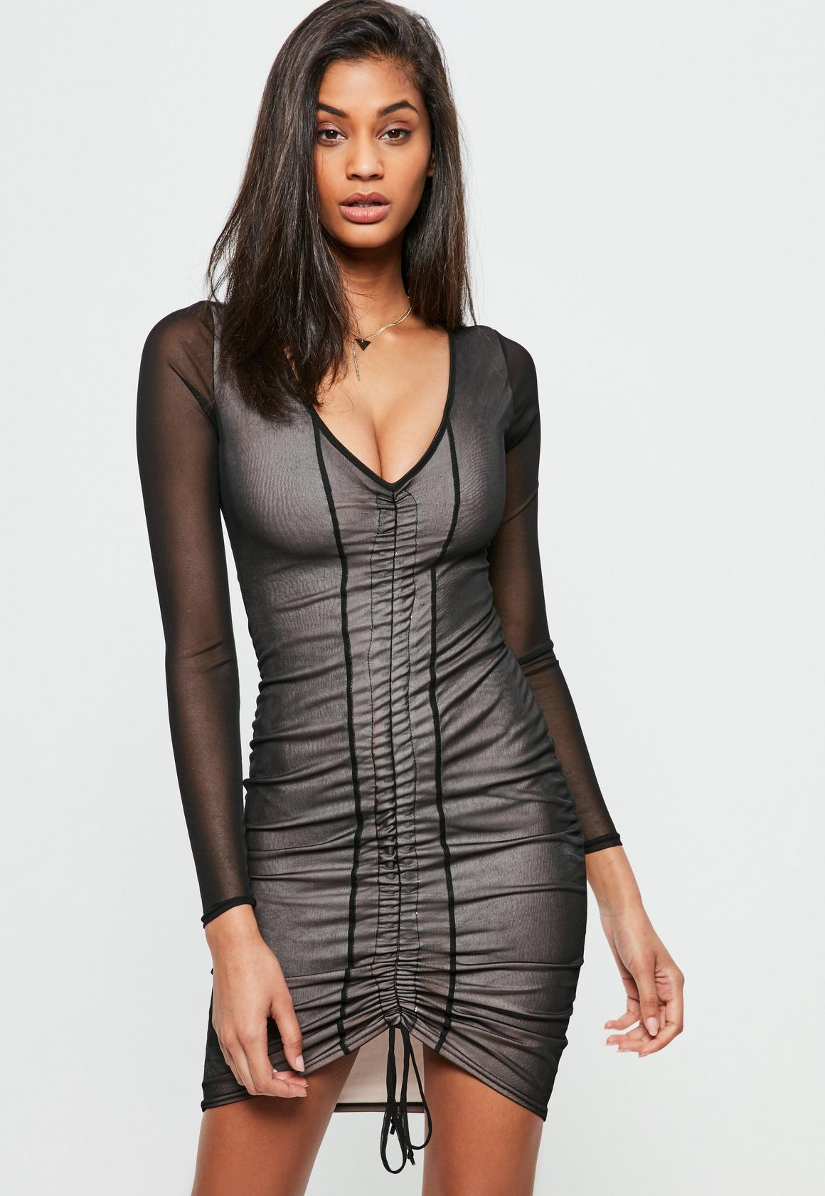 Black Mesh Gathered Front Dress | Missguided