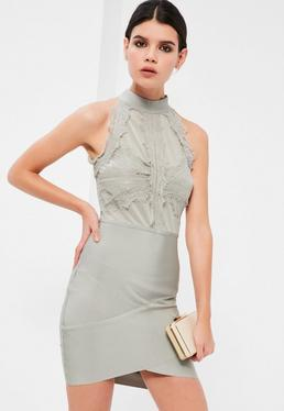 Grey Bandage and Lace Bodycon Dress