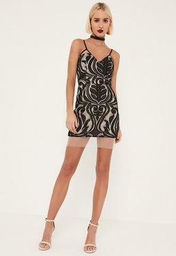 Black Strappy Lace Bodycon Mini Dress