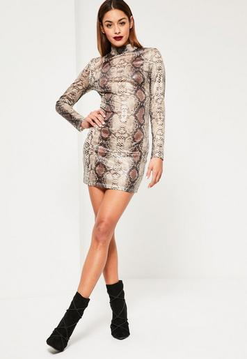 Nude Snake Sequin Bodycon Dress Missguided