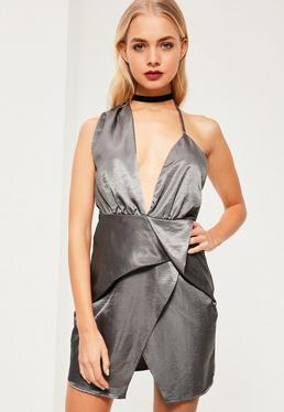Grey Silky Asymmetric Bodycon Dress