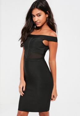 Black Bandage Bardot Mesh Insert Bodycon Dress