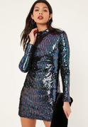 Navy Sequin Embellished High Neck Bodycon Dress