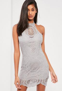 Grey Lace Racer Neck Bodycon Dress
