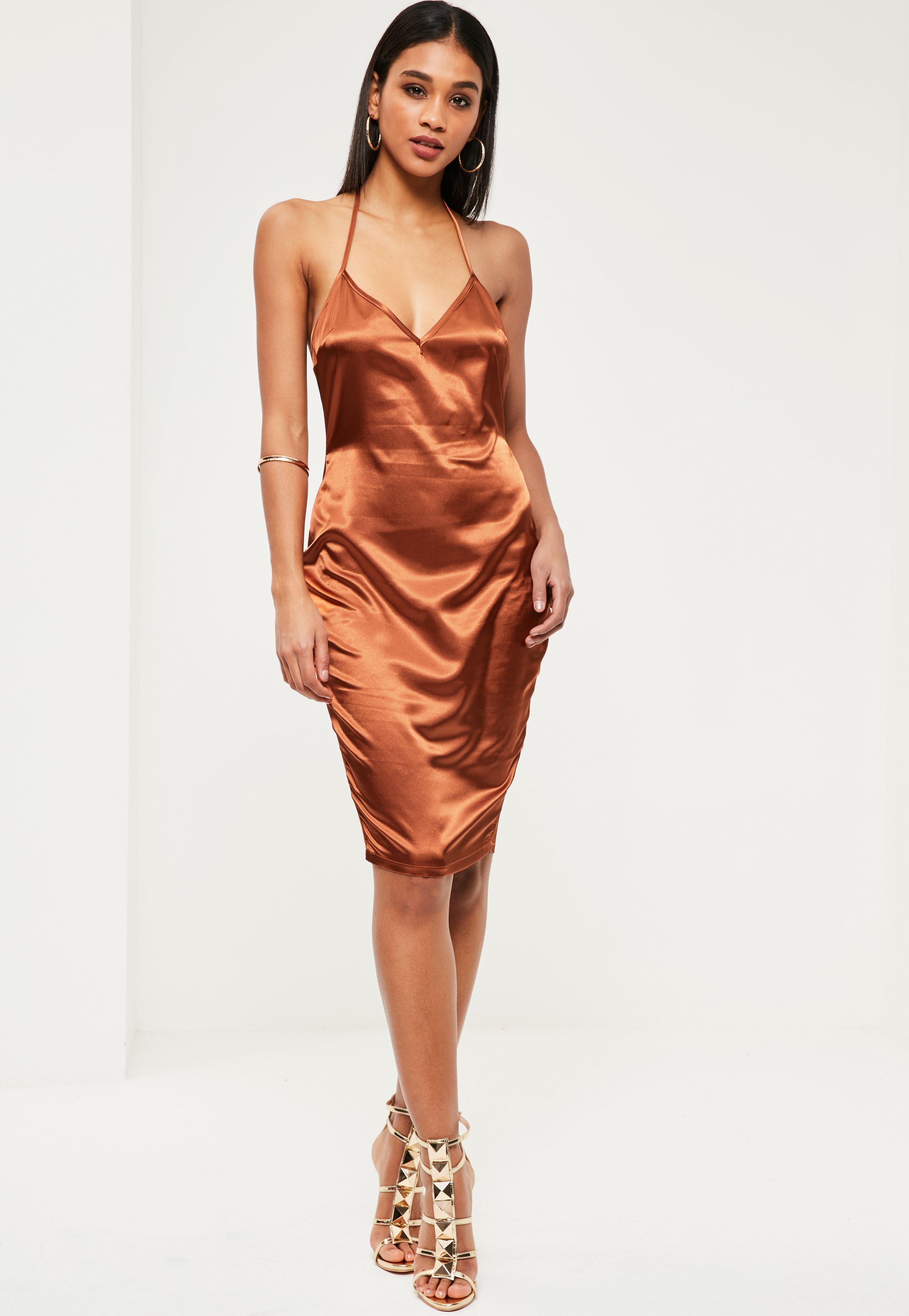 Bronze Silky Plunge Midi Shift Dress