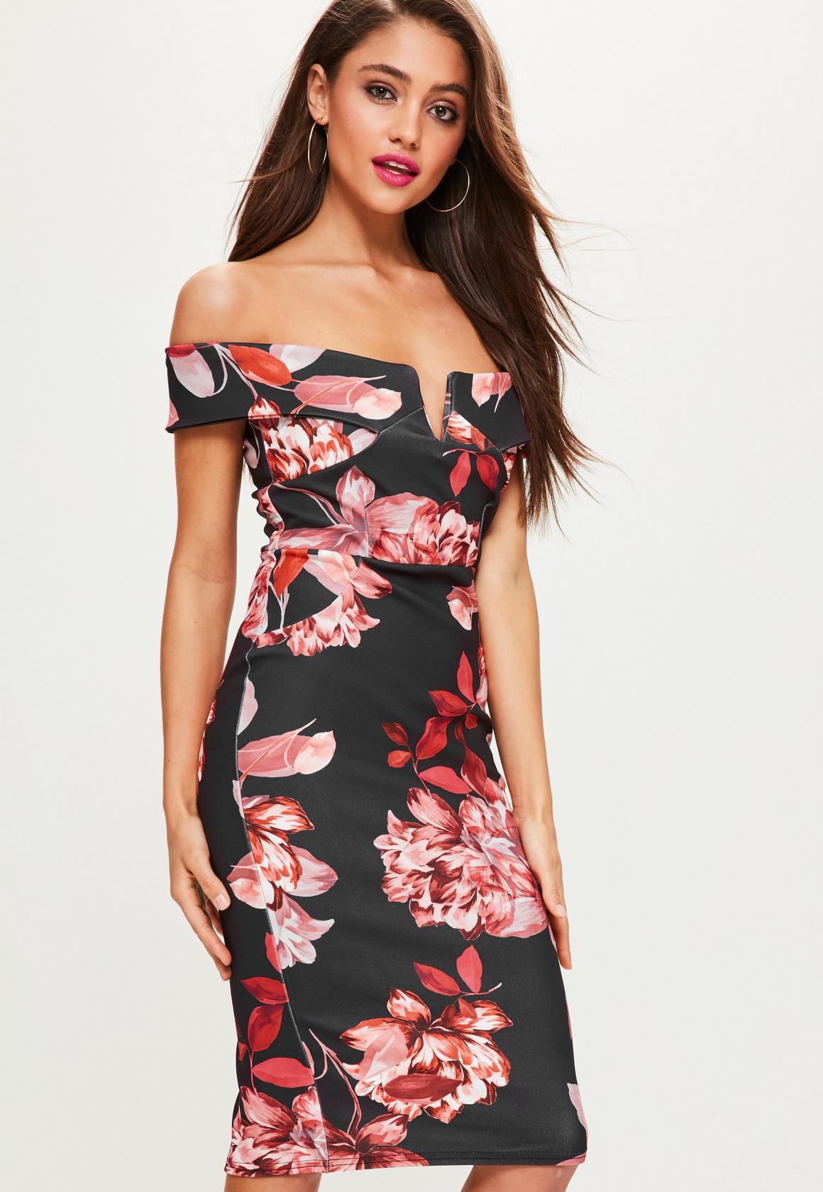 Black Floral Black Bardot Midi Dress   Missguided