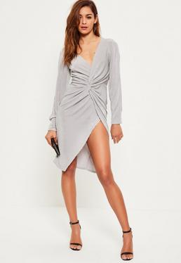 Grey V Plunge Knot Split Sleeve Midi Dress