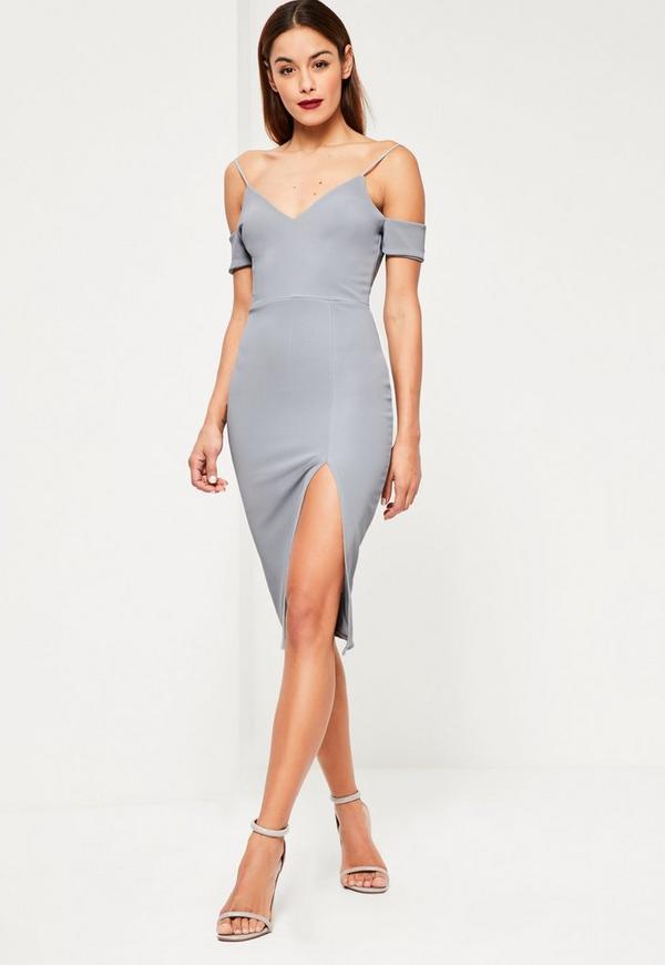 Grey Cold Shoulder Split Dress