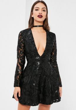 Black Sequin Plunge Long Sleeve Skater Dress