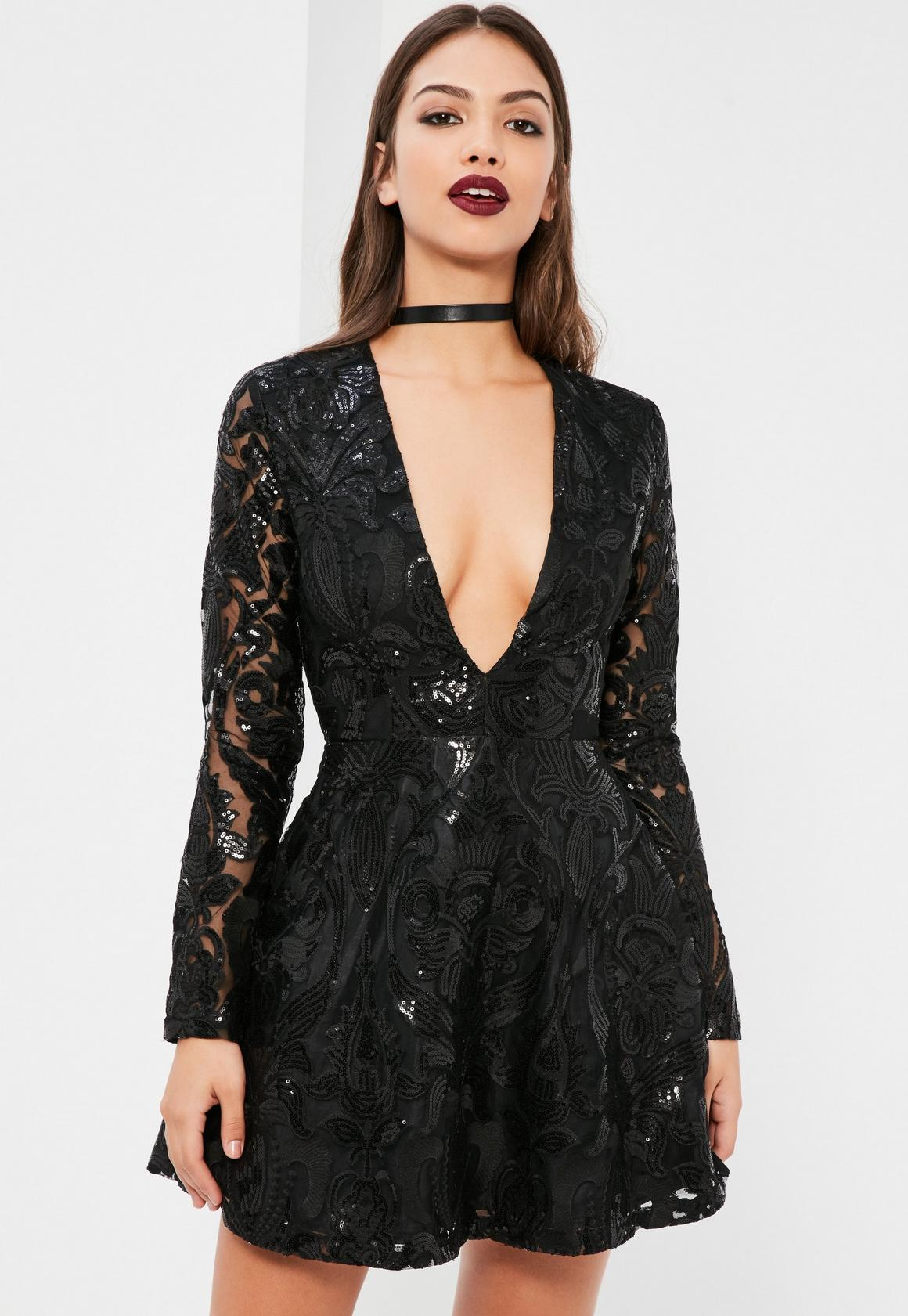 Black Sequin Plunge Long Sleeve Skater Dress | Missguided