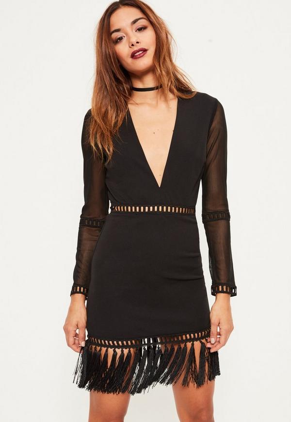 Black Tassel Hem V Plunge Bodycon Dress
