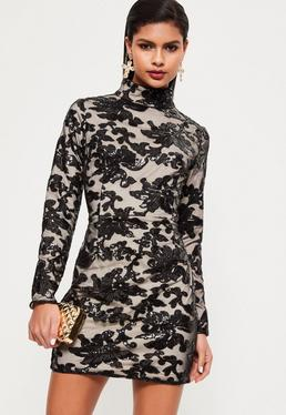 Black Sequin Lace Bodycon Dress