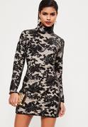 Black Sequin Lace Bodycon Dress