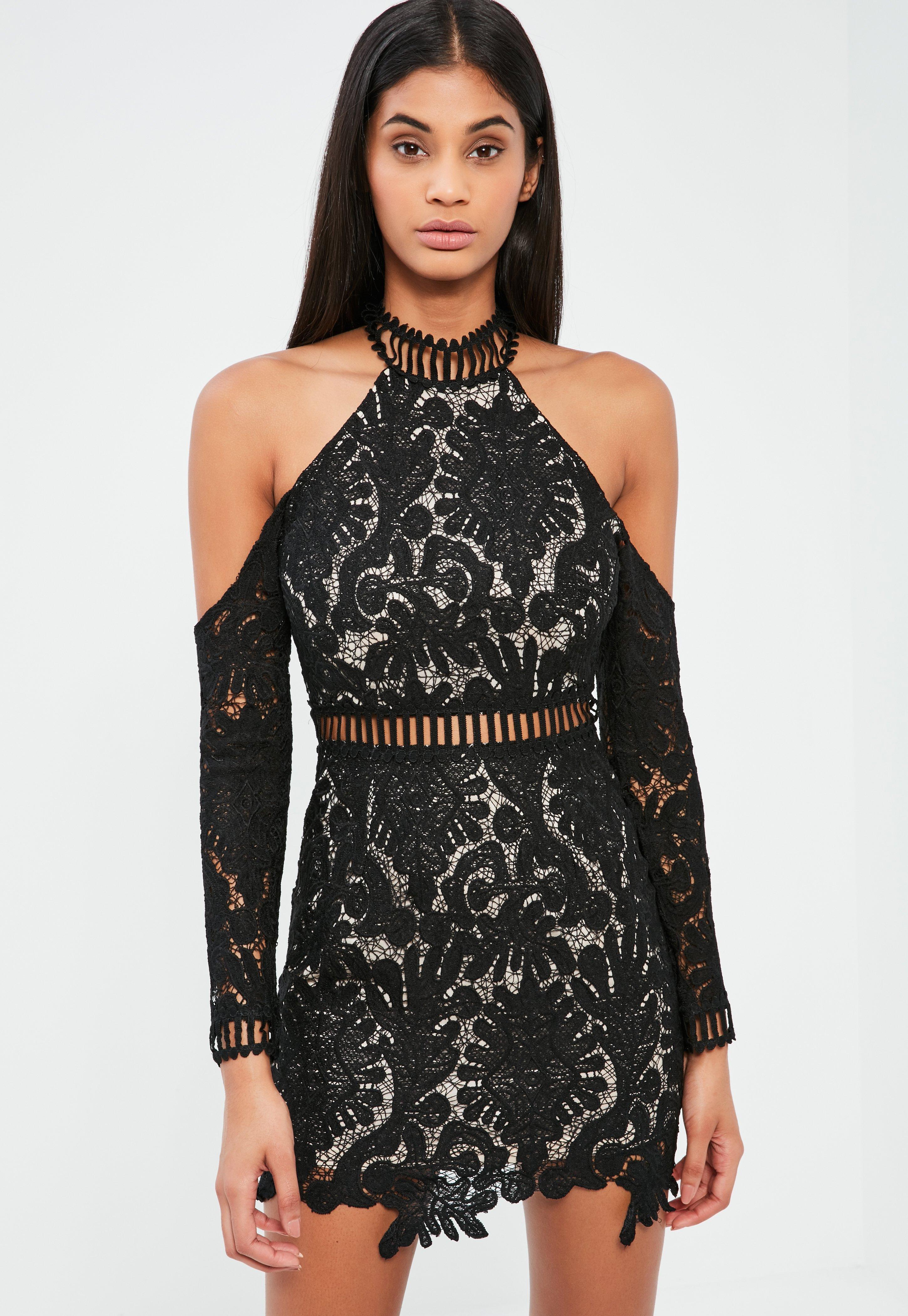 Black Lace Cold Shoulder Bodycon Dress