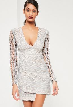 Grey Geometric V Plunge Lace Bodycon Dress