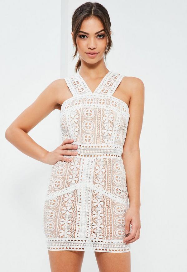 White V Strap Lace Mini Dress