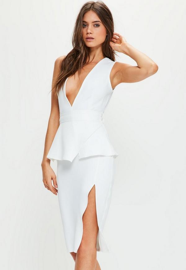 White Crepe Peplum Midi Dress