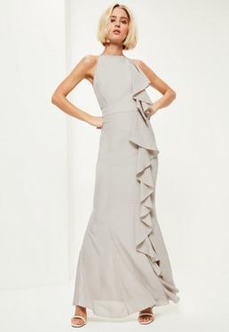 Grey Frill 90's Neck Maxi Dress