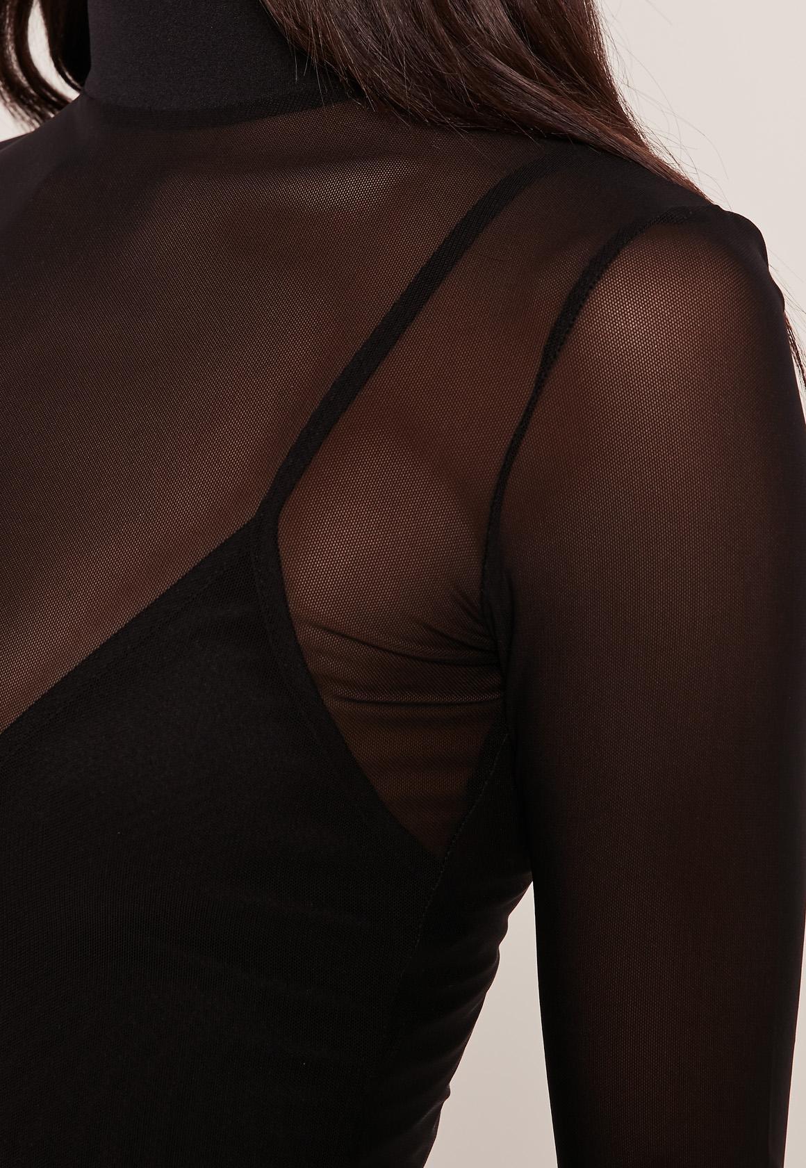 Black High Neck Mesh Overlay Dress