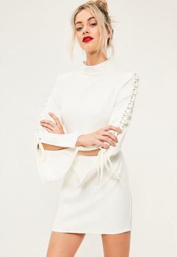 White Crepe High Neck Lace Up Flared Sleeve Bodycon Dress