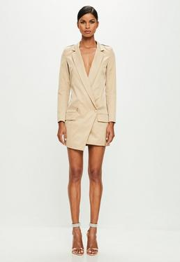 Peace + Love Nude Long Sleeve Wrap Blazer Dress