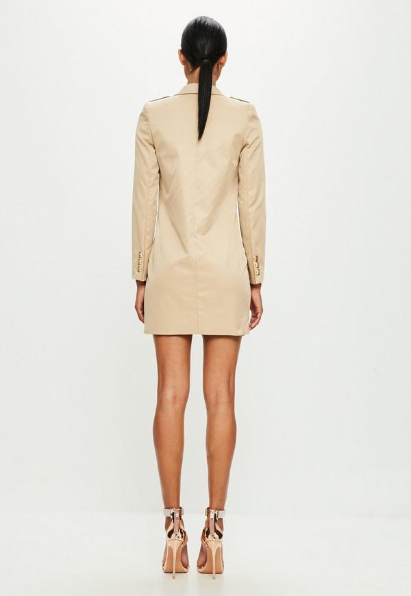 Peace Love Nude Long Sleeve Wrap Blazer Dress Missguided