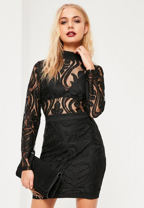 Black Lace Top Bodycon Dress Missguided