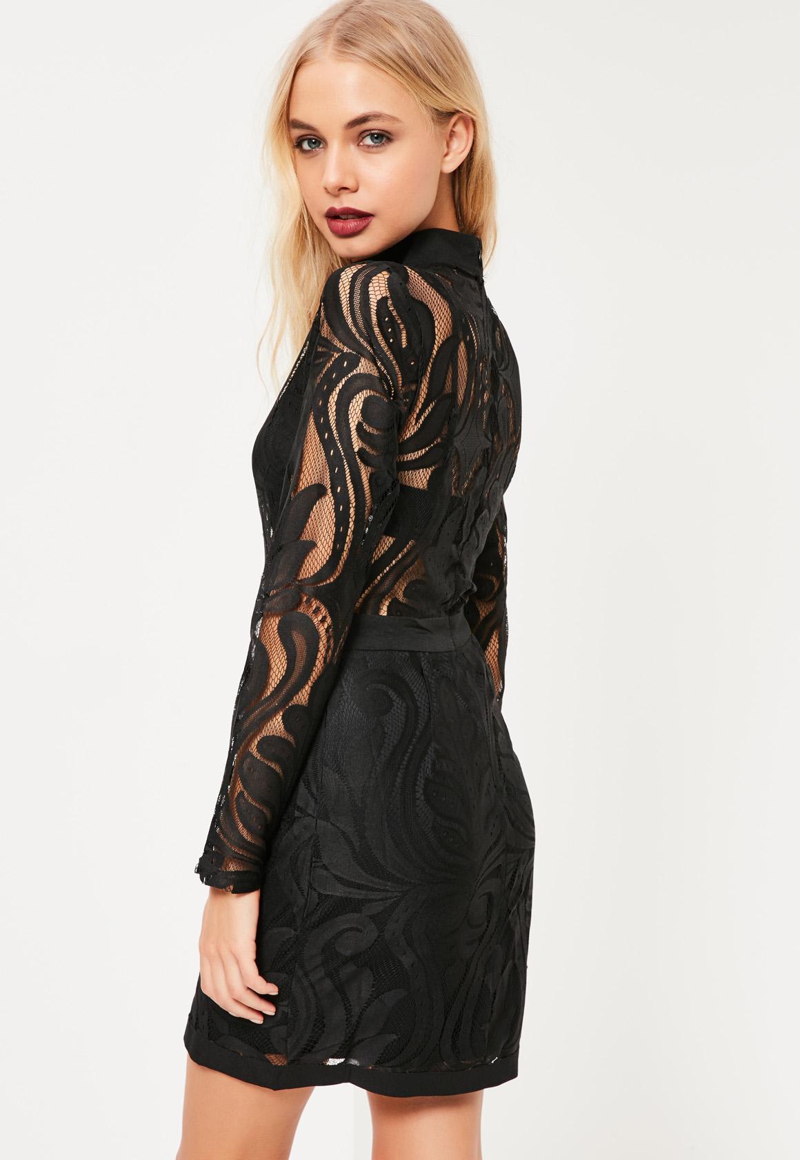 Black Lace Top Bodycon Dress