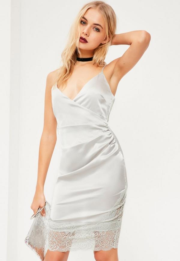 Grey Silky Eyelash Lace Trim Wrap Bodycon Dress