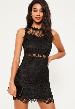 Store Copy - Black Lace and Mesh Bodycon Dress