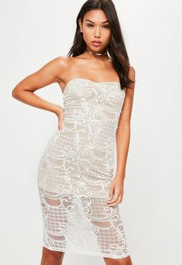 Biała koronkowa sukienka midi bardot