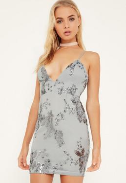 Szara sukienka na ramiączkach z dodatkiem cekin