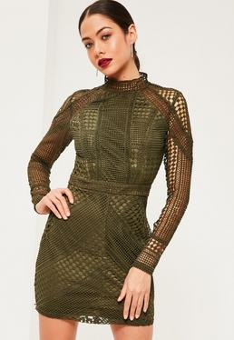 Premium Khaki Structured High Neck Lace Mini Dress