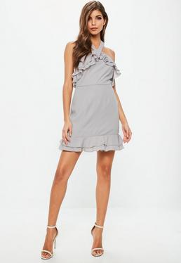 Grey Crepe Double Frill Shift Dress