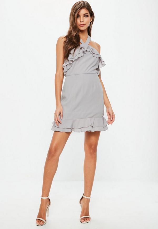 Grey Crepe Double Frill Shift Dress