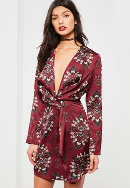 Burgundy Print Silky Wrap Dress