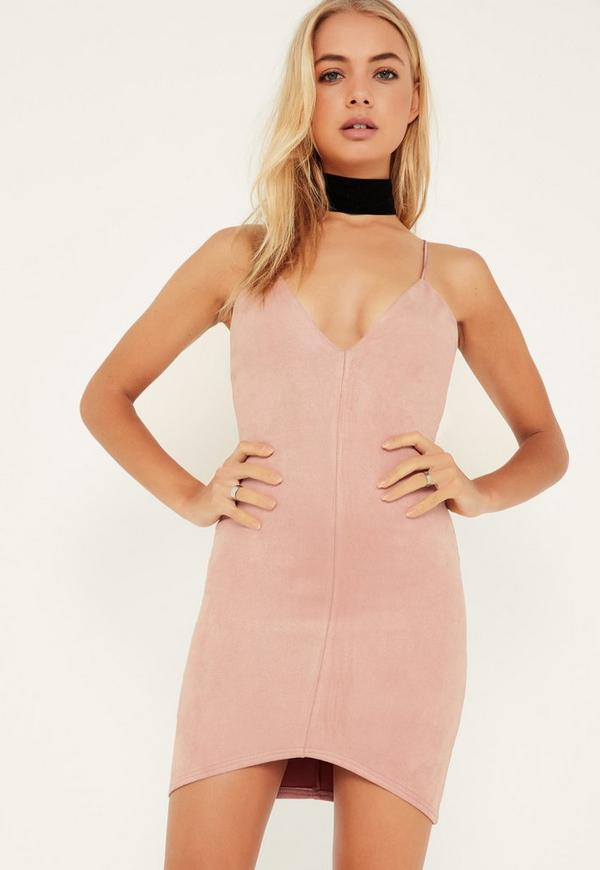 Pink Bonded Faux Suede Strappy Bodycon Dress