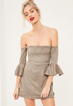 Grey Bonded Faux Suede Frill Cuff Bodycon Dress