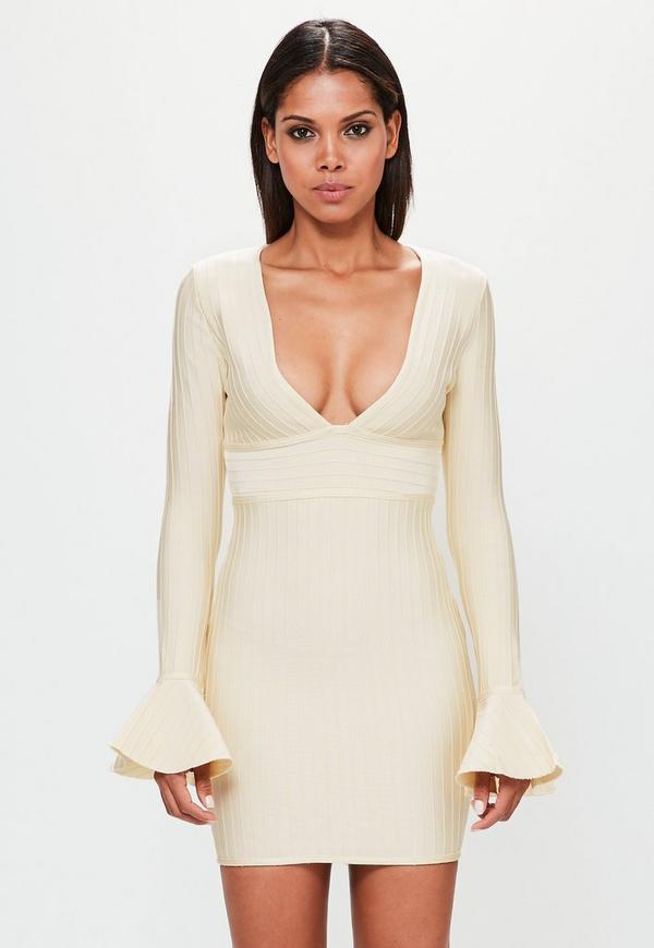 Peace + Love Cream Flare Sleeve Bandage Bodycon Dress