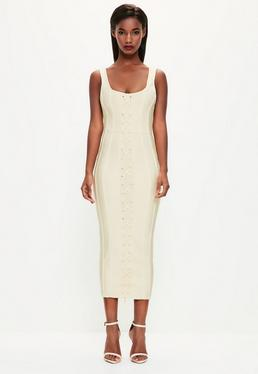 Peace + Love kremowa bandażowa sukienka midi z krzyżowanymi zdobieniami z przodu