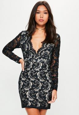 Navy Lace Plunge Scallop Bodycon Dress