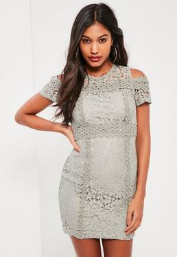 Grey Lace Cold Shoulder Bodycon Dress