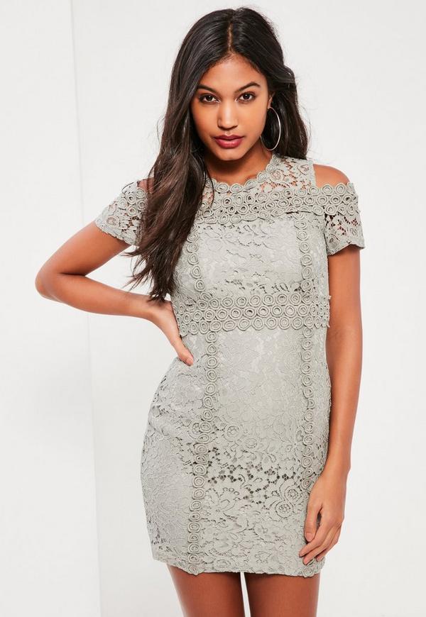 Grey Lace Cold Shoulder Bodycon Dress