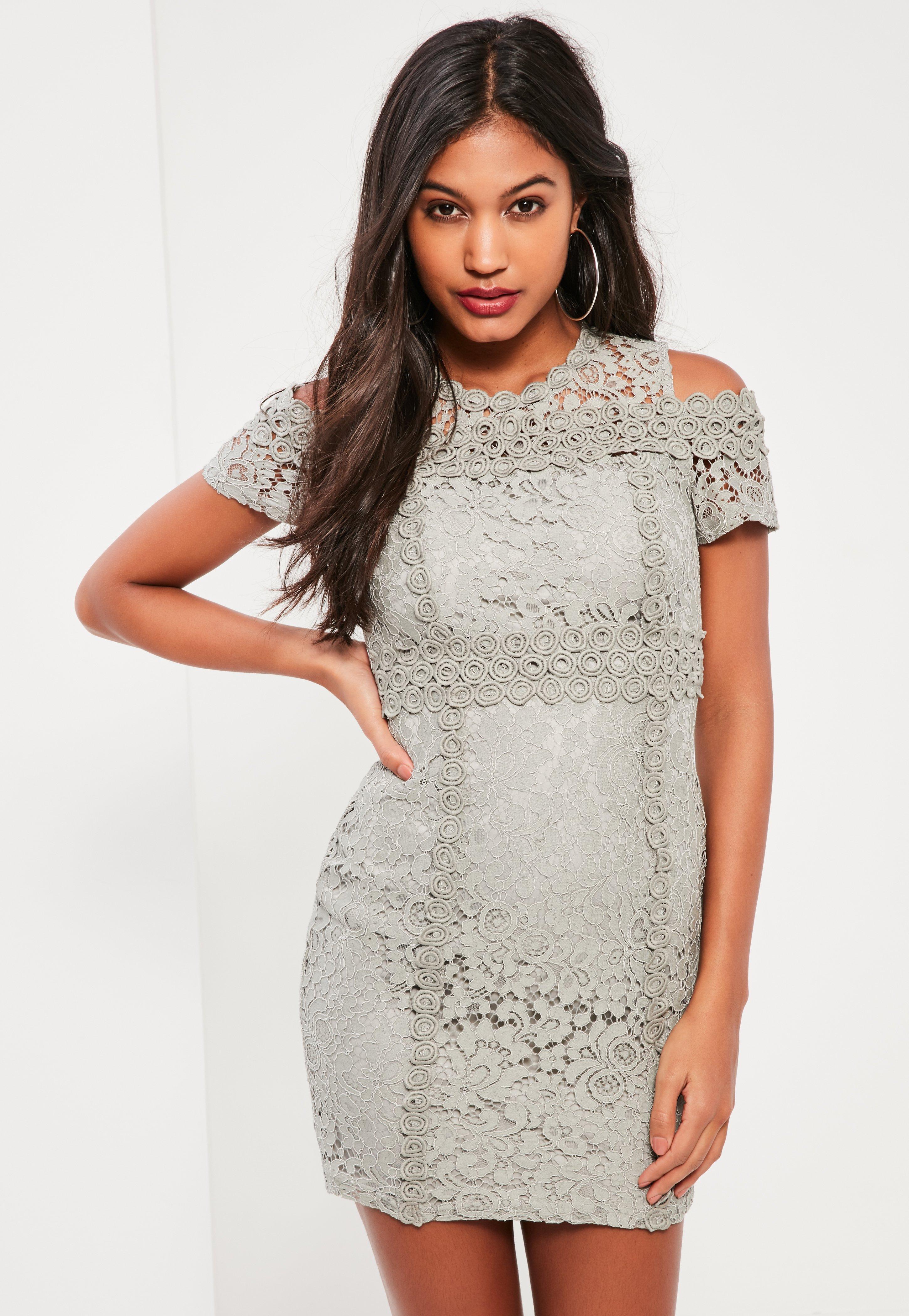 Wedding Gray Lace Dress grey lace cold shoulder bodycon dress previous next