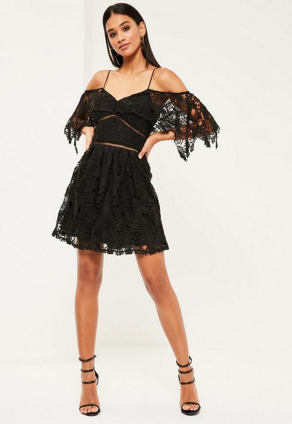 Black Lace Cold Shoulder Skater Dress